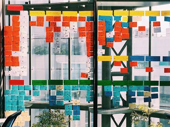 Metodologia agile: vetrata con post it