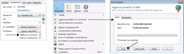 Caso portfolio: integrazione Danea Easyfatt con Ecwid - schermata di funzionamento 1