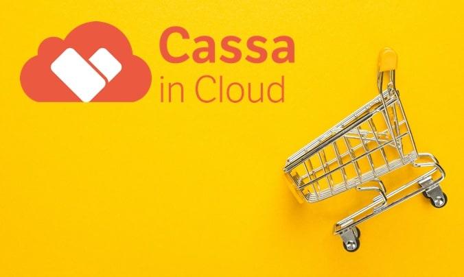 Integrazione Cassa in Cloud e WooCommerce - immagine gialla con logo di Cassa in Cloud e carrello della spesa