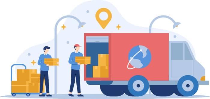 magazzinieri che caricano furgone per consegne