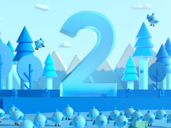 Immagine di un 2 con sfondo azzurro