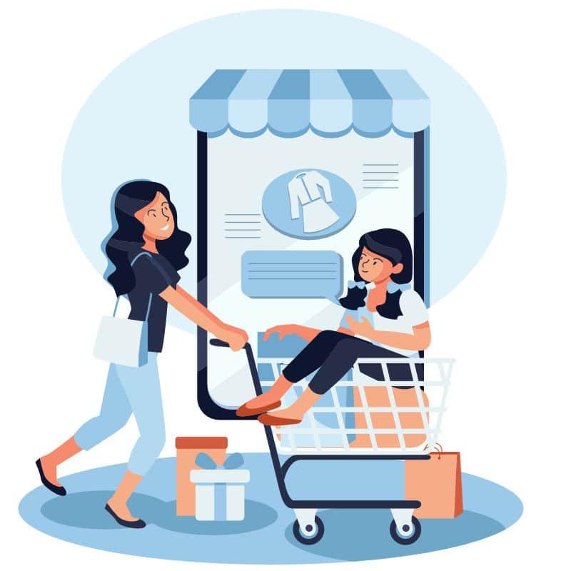 ue donne che effettuano acquisti online