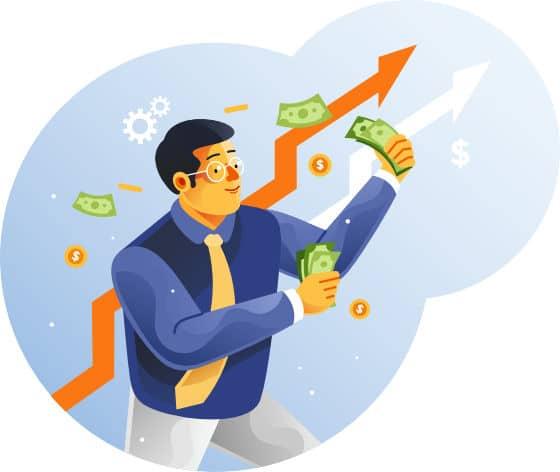 Uomo felice con soldi in mano
